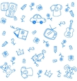 Blue funny draw doodle vector image