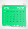 2013 calendar march colorful torn paper vector image vector image