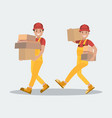 delivery service two workers carry parcels the vector image