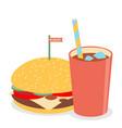 hamburger with soda vector image