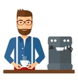 Man making coffee vector image