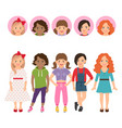 teenage girls with avatar icons set vector image