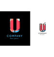 u blue red letter alphabet logo icon design vector image