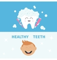 Tooth holding toothpaste and toothbrush Smiling vector image