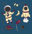 astronaut cartoon space set vector image
