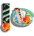 Eva and snake - sale cartoon vector image