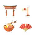 japanese flag fan noodle and torii gate icons vector image