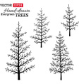 Set of hand-drawn evergreen trees vector image