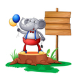 A trunk with an elephant near the wooden signboard vector image vector image