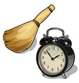 alarm clock and a broom symbols of cleaning time vector image