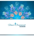 Blue floral ornament mandala background card vector image vector image