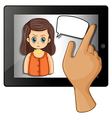 A hand touching the gadget with an angry woman vector image vector image