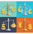 Money sign icons and gold bars on the scales vector image