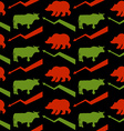 Bulls and bears traders seamless pattern Green Red vector image