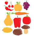 flat fruit and vegetables set vector image