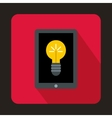 Light bulb on tablet pc computer screen icon vector image