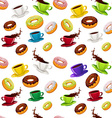 seamless pattern with donuts and coffee vector image
