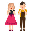 cartoon surprised boy and girl vector image vector image