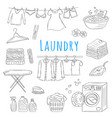 laundry service hand drawn doodle icons set vector image