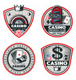 colored poker and casino emblems set vector image