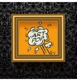 Gold Picture frame on the dark wallpaper vector image