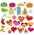 color christmas gifts and valentines heart vector image