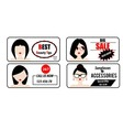 Advertisement banners templates with woman avatars vector image vector image