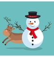 xmas snowman reindeer with blue sky bakcground vector image