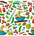 Vegetable salad seamless pattern with ingredients vector image vector image