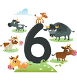 Collection number for kids farm animals - number 6 vector image vector image