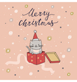 Merry Christmas card with cat vector image vector image