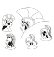 Set of images of ancient Greek warriors head vector image