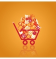 basket with shopping vector image vector image