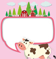 Border design with cow and farm vector image vector image