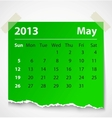 2013 calendar may colorful torn paper vector image vector image