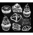 Bakery and pastry icons set in vintage style vector image