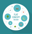 flat icons landscape beauty insect eco energy vector image