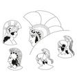 Set of images of ancient Greek warriors head vector image