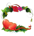 Valentines Day hearts leaves and flowers vector image