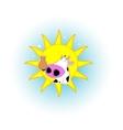 Cute cartoon cow badge vector image