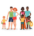 white and african black family on summer vacation vector image