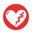round icon heart caduceus vector image