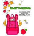 Bright school bag in pop art style vector image