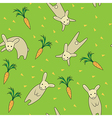 Rabbit seamless pattern green color vector image