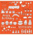 Hand drawn Birthday party elements on orange vector image