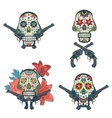 Set of hand drawn skulls with flowers and guns vector image