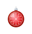 Christmas Red Ball with Snowflake Isolated vector image