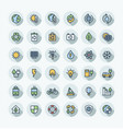 flat color thin line icons set with vector image