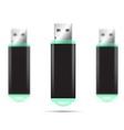 Green USB Flash Drive isolated set vector image