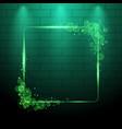 shining green neon light frame design element vector image
